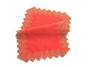 Vintage handmade hardanger centerpiece -- coral red centerpiece with hand embroidered hardanger pattern -- 18x12 inches / 46x30.5 cm