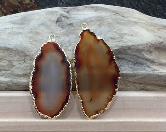 Brown Agate Slice, Black Agate Slice Pair, Brown Geode Slice Pair, Brown Geode Slice, Brown Agate Slice, Dyed, Gold Plated