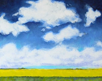 "Puffy Clouds Landscape Painting Prairie Plains Farm Acrylic on Canvas 12""x12"""