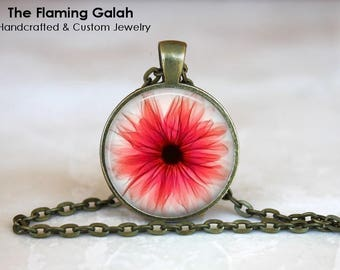 X-RAY GERBERA Pendant • Red X-Ray Gerbera • Boho X-ray Flower • X-ray of a Flower • Gift Under 20 • Made in Australia (P1523)