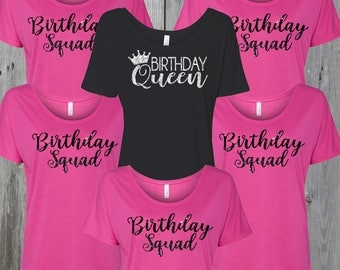 Birthday QUEEN and SQUAD Flowy Tees