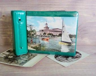 Vintage small Photo Album, Green Faux Leather Album, Black Pages, Old Photo front Cover, 80's Photo Album, Photo Organizer