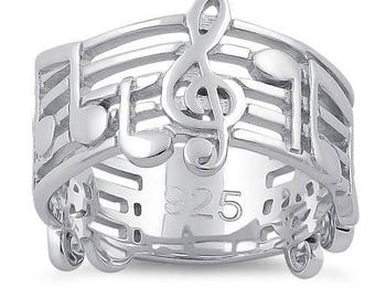 Musical Notes Ring Sterling Silver 925