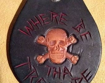Where's the treasure?, handmade Leather Key fob, accessory