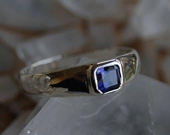 Iolite ring,silver Iolite ring ,cushion cut Iolite engagement ring,925 silver Iolite ring ,blue Iolite ,natural Iolite ring