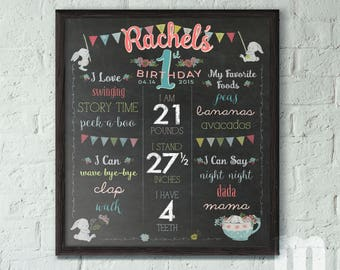 Birthday Sign for Kids, 1st Birthday Chalkboard Sign, Bunny Birthday for Girl, Birthday Chalkboard Girl, Birthday Sign Printable for Baby