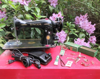 Vintage Singer 15-91 Sewing Machine with Attachments and Manual 1951 Centennial Badge