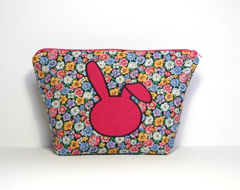 Toiletry bag, rabbit head pink