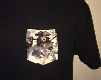 Pirates of the Caribbean - Captain Jack Sparrow Pocket Tee Black T-Shirt