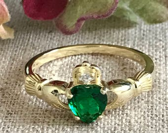 Simulated Emerald CZ Claddagh Ring, Personalized Birthstone Claddagh Ring, Gold Plated Claddagh Wedding Ring,Love Loyalty Friendship Ring