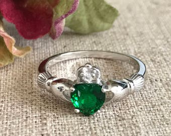 Emerald Cz Claddagh Ring 925 Sterling Silver Irish Claddagh Ring, Claddagh Wedding Ring, Birthstone Claddagh Ring, Engagement Ring