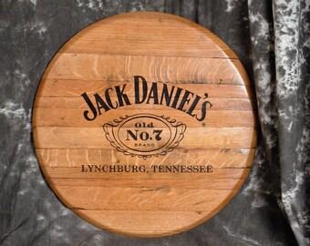 Laser Engraved Whiskey Barrel Head Wall Hanging, Wall Art From A Used Jack Daniels Oak Whiskey Barrel