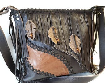 leather bag,fringed bag, bag with fringes,brown leather,genuine leather,to hang around, shoulder bag,western,country,cowgirl,ethno,hobo bag