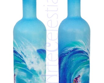 Hand painted vodka bottle with  surfer