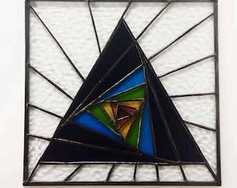 Triangle Sacred Geometry Stained Glass
