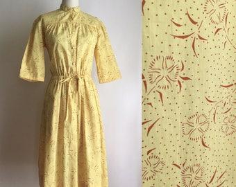 70s Cacharel dress M/L ~ dandelion flower print ~ vintage yellow cotton dress