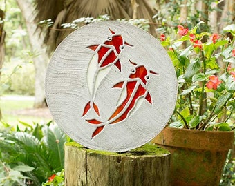 "Koi Fish Stepping Stone, Large 18"" Diameter Made of Concrete and Stained Glass, Perfect for Your Backyard Goldfish Pond or Garden Path #70"