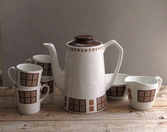 Midcentury Glo-White Ironstone Coffee Set 7 Piece Alfred Meakin England