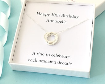 Personalised 30th birthday necklace - 30th birthday gift - personalised 30th gift for her - 30th birthday for daughter - 30th necklace