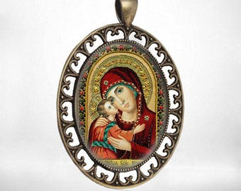 Virgin Mary Medal Igorevskaya Theotokos Christian Orthodox Jewelry Pendant Icon