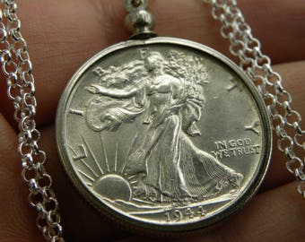 1944 authentic BU silver walking liberty half dollar coin necklace pendant with 16 or 18 or 20 or 22 or 24 or 30 inch sterling silver  chain