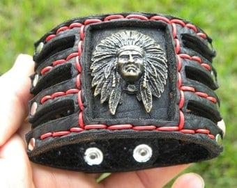 Buffalo Bison Leather cuff Bracelet Brass Native Indian Head chief customize to wrist size nice gift Seminole Indians FSU fans