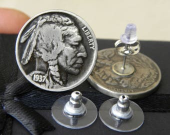 Vintage Authentic Buffalo Indian Nickel coin silver plated   post earring with earring backs   style nice gift for Bill Bulls FSU  fans