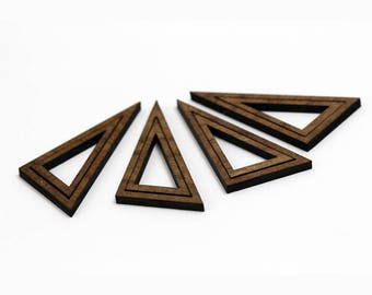 8 Concentric Right Triangle Wood Beads : Walnut Plywood