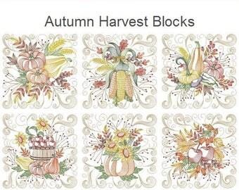 Autumn Harvest Blocks Machine Embroidery Designs Instant Download 5x5 6x6 8x8 hoop 10 designs APE2623
