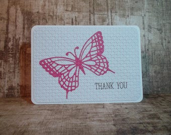 thank you card, embossed card, butterfly card, handmade card