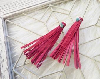 Hot Pink  Leather Tassel Earrings