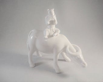 Japanese Collectible - Blanc de Chine - Lenwile Ardalt - Statue of Boy on Oxen