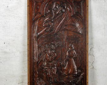 Vintage Hand Carved Wooden Wall Panel Plaque Reclaimed Man in Tree Brueghel