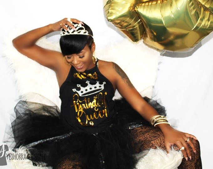 Birthday Queen Tank, Birthday Queen Shirt, Birthday Tank, High Neck Birthday Tank, 30th Birthday Tank, Birthday Shirt For Women, Diva Tank