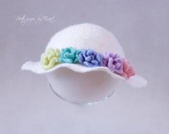 Felted newborn hat / rainbow hat / newborn brim hat / felted photography props /merino wool photo prop