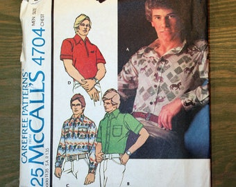 Vintage 1975 McCall's Men's Shirt Pattern #4704 - UNCUT Pattern