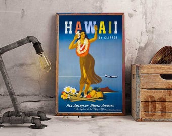 Pan American Airlines, Hawaii, Vintage Poster, Advert, ArtHangar, Travel Poster, Giclée, Print