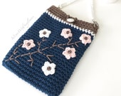 Crochet Purse - embroidered - Cell Phone pouch - Gift for mom - Vegan - phone holder - Cell Phone Purse - gift for her  - handmade purse -