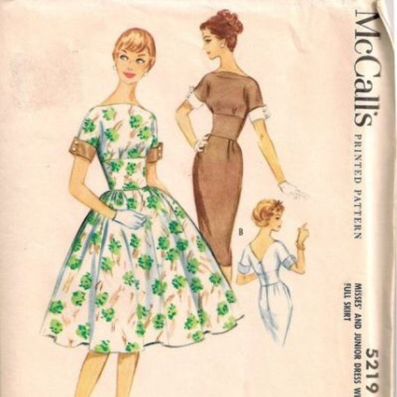 McCall's 5219 Vintage Reproduction Bateau Neck Dress with Full or Pencil Skirt Circa 1959
