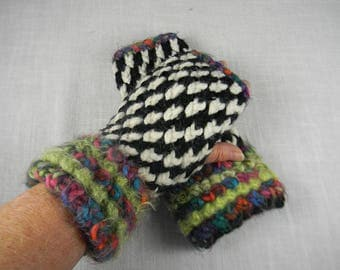 Wrist Warmers, Black and White Wrist Warmers, Hand Knit Wrist Warmers, Hand Knit Fingerless Gloves, Hand Knit Fingerless Mittens