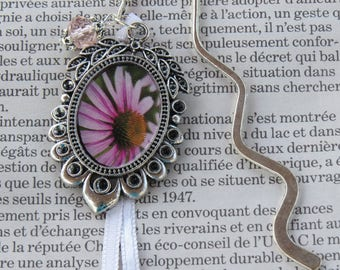 Silver bookmark with purple flower medallion and pink Crystal
