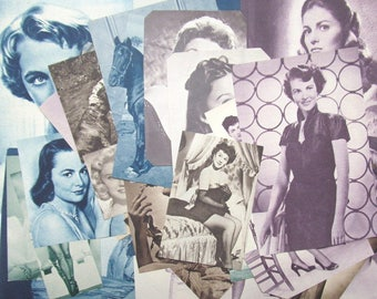 Vintage Hollywood actress pictures: pack of 50 hand cut paper pieces and pictures. Craft paper for collage, scrapbook, journal EP616