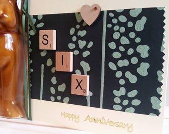 6th Anniversary Card - Sixth Wedding Anniversary Card - 3D Handmade Card - Wife Girlfriend Husband Boyfriend Partner - Celebrate Six Years