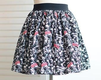 the walking dead skater full skirt,ladies skirt,A-Line skirt,pink skirt,knee-length skirt