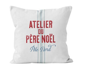 French Christmas Throw Pillow Cover, Santa Claus Workshop Decor, Grain Sack Style Christmas Pillow Cover Red White Blue _M