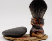 Shaving Brush - Hand-Made with hand-poured Black and Gold Resin Handle and a Choice of Knots