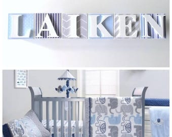 Personalised Personalized Wooden Name Blocks- Decoupage name blocks- Letter Blocks- Nursery Decor- baby boy, blue grey and white theme