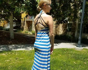 Backless Halter Top Striped Maxi Dress - Comfortable and Breathable