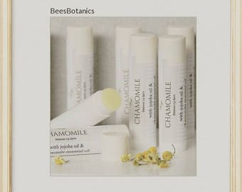 Beeswax Lip Balm, Natural Lip Balm by BeesBotanics, 100% Natural Chap Stick, Lip Moisturizer, Lip Care,  Petroleum Free, Flavored Lip Balm
