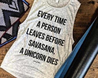 SAVASANA UNICORN DIES....Funny Yoga Muscle Tee in Heather Grey/Black Workout Top, Muscle Tank, Gym Top, Fitness Tank, Yoga Vest, Yoga Top